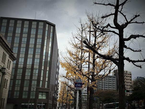 左手に日本銀行福岡支店を見ながらまっすぐに